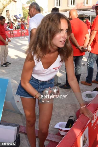 Actress Mathilde Laffont attends the Trophee Senequier Petanque competition at Place des Lices SaintTropez on August 18 2017 in SaintTropez France