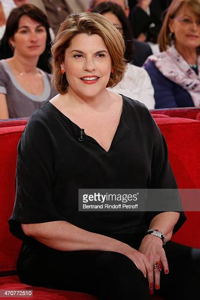 Actress Mathilde Vitry attends the 'Vivement Dimanche' French TV at Pavillon Gabriel on April 22 2015 in Paris France