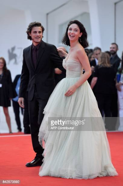 Actress Matilda de Angelis and Italian actor Andrea Arcangeli attend the premiere of the movie 'Una Famiglia' presented in competition at the 74th...