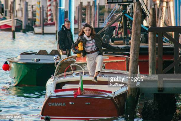 Actress Matilda De Angelis spotted in Venice while she is shooting the latest film by director Paola Ortiz, Across the River and into the Trees...