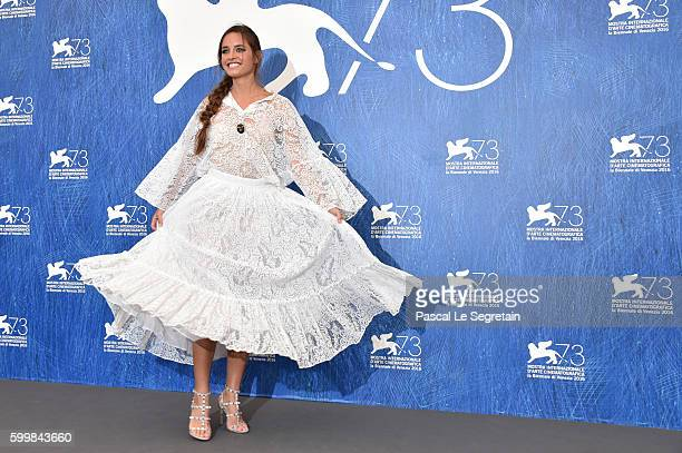 Actress Matilde Gioli attends the photocall of L'Oreal Paris Award For The Cinema during the 73rd Venice Film Festival at Palazzo del Casino on...