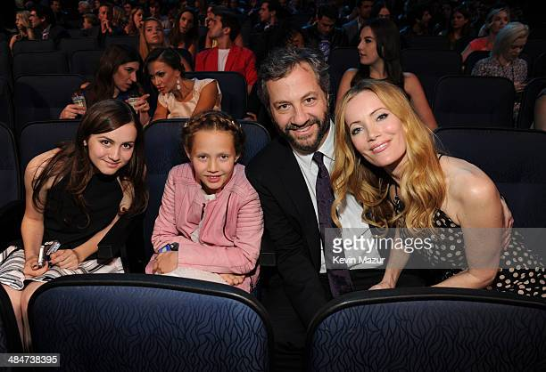 Actress Maude Apatow actress Iris Apatow director Judd Apatow and actress Leslie Mann attend the 2014 MTV Movie Awards at Nokia Theatre LA Live on...