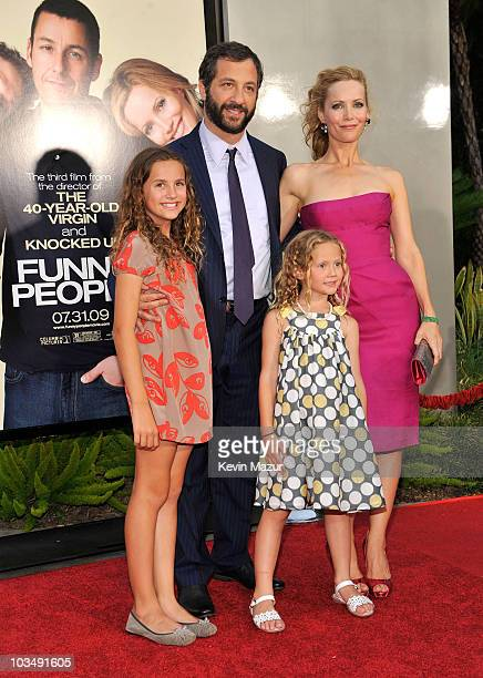 Actress Maude Apatow Actress Leslie Mann Actress Iris Apatow and Writer/Director/Producer Judd Apatow arrive on the red carpet for the Los Angeles...