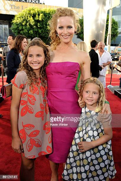 Actress Maude Apatow actress Leslie Mann and actress Iris Apatow attend the premiere of Universal Pictures' Funny People held at ArcLight Cinemas...
