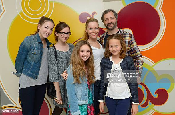 Actress Maude Apatow actress Leslie Mann writer/producer Judd Apatow and actress Iris Apatow attend The Beatles LOVE by Cirque du Soleil at The...