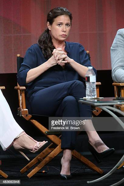 Actress Maura Tierney speaks onstage during the 'The Affair' panel discussion at the Showtime portion of the 2015 Summer TCA Tour at The Beverly...