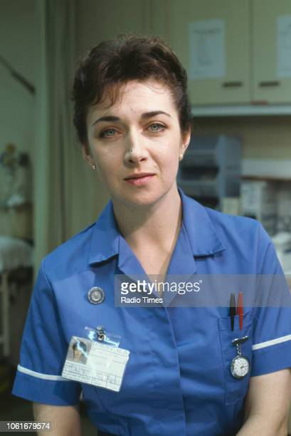 Actress Maureen Beatty pictured on the set of the BBC television series 'Casualty' September 20th 1991