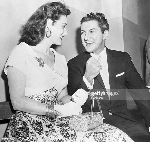 Actress Maureen O'Hara and Liberace are shown outside the Los Angeles County Grand Jury Room as they awaited the call to testify in the grand jury's...