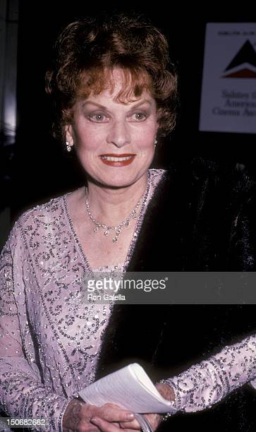 Actress Maureen O'Hara attends Second Annual American Cinema Awards on November 22 1985 at the Beverly Wilshire Hotel in Beverly Hills California