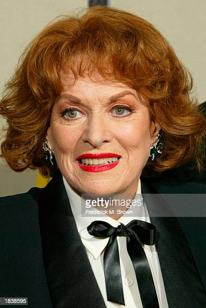 Actress Maureen O'Hara poses backstage during the 9th Annual Screen Actors Guild Awards at the Shrine Auditorium on March 9 2003 in Los Angeles...
