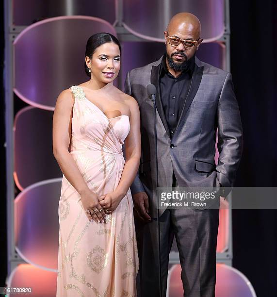 Actress Maya Gilbert and actor Rockmond Dunbar speak during the 21st Annual Movieguide Awards at the Universal Hilton Hotel on February 15 2013 in...