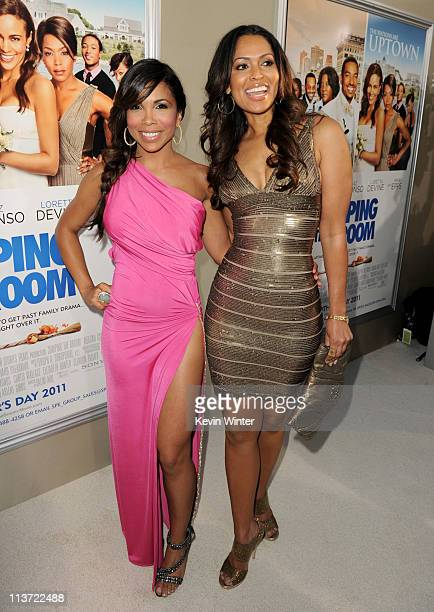 Actress Maya Gilbert and producer Tracey Edmonds pose at the premiere of TriStar Pictures' Jumping The Broom at the Cinerama Dome Theater on May 4...