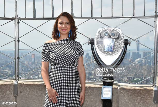 Actress Maya Rudolph celebrates the Empire State Building Lighting With Cast Of The Emoji Movie Girls Who Code And Oath For Good For World Emoji Day...