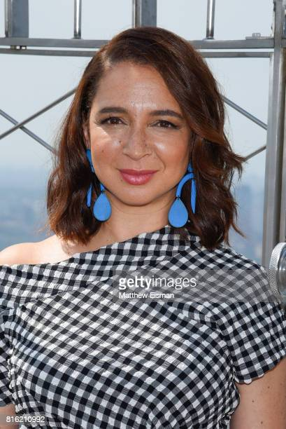 Actress Maya Rudolph of the film The Emoji Movie poses for a photo to celebrate World Emoji Day at The Empire State Building on July 17 2017 in New...