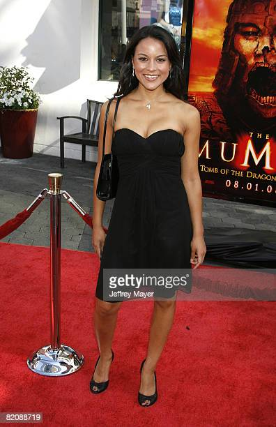 Actress Maya Stojan arrives at the American Premiere of 'The Mummy Tomb Of The Dragon Emperor at the Gibson Amphitheatre on July 27 2008 in Universal...
