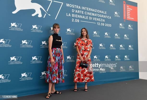 US actress Maya ThurmanHawke and US director Gia Coppola attend a photocall for the film Mainstream presented in the Orizzonti competition on the...