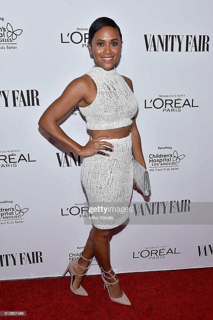 Actress Maya Washington attends Vanity Fair, L'Oreal Paris, & Hailee Steinfeld host DJ Night at Palihouse Holloway on February 26, 2016 in West Hollywood, California.