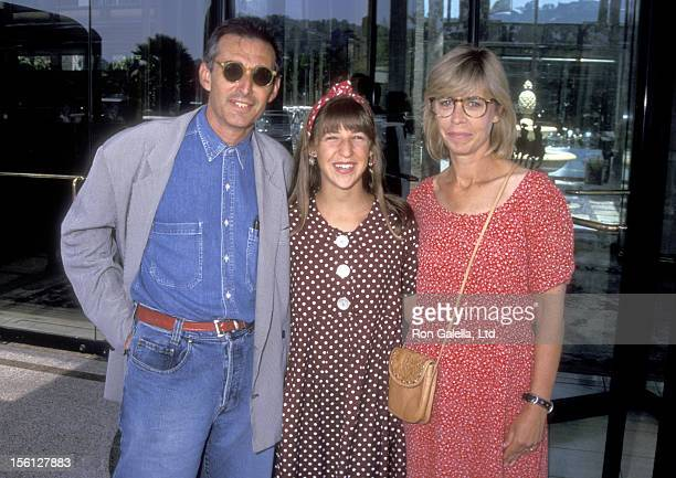 Actress Mayim Bialik and parents Barry Bialik and Beverly Bialik attend the NBC Summer TCA Press Tour on July 27 1991 at Universal Hilton Hotel in...