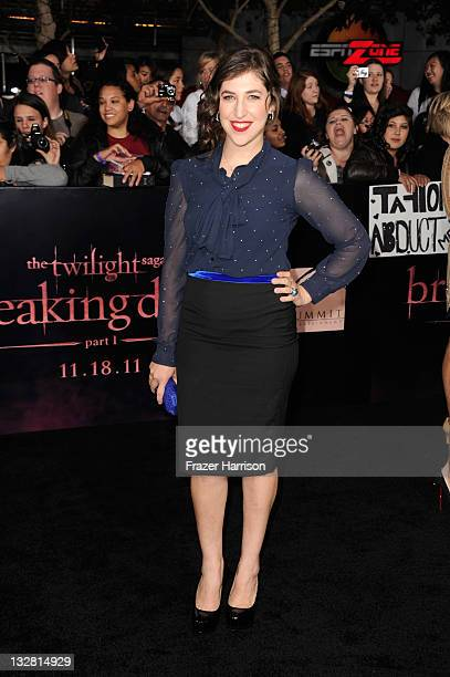 Actress Mayim Bialik arrives at Summit Entertainment's The Twilight Saga Breaking Dawn Part 1 premiere at Nokia Theatre LA Live on November 14 2011...