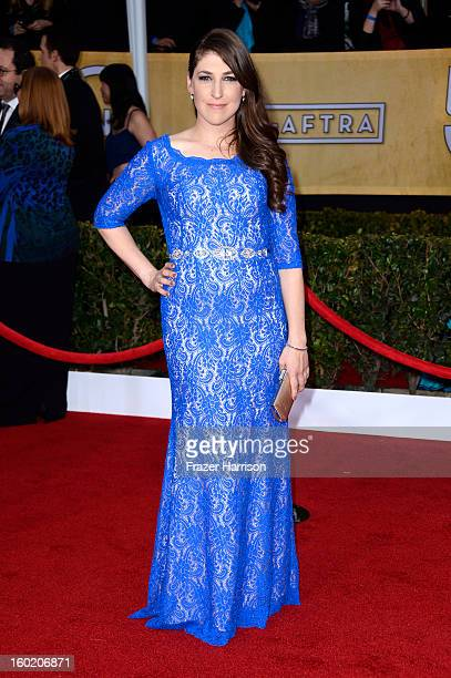Actress Mayim Bialik arrives at the 19th Annual Screen Actors Guild Awards held at The Shrine Auditorium on January 27 2013 in Los Angeles California