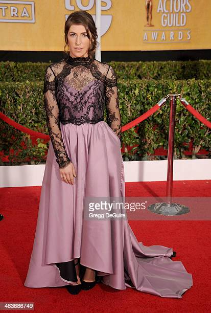 Actress Mayim Bialik arrives at the 20th Annual Screen Actors Guild Awards at The Shrine Auditorium on January 18 2014 in Los Angeles California