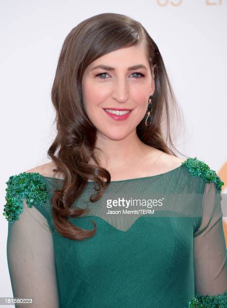 Actress Mayim Bialik arrives at the 65th Annual Primetime Emmy Awards held at Nokia Theatre LA Live on September 22 2013 in Los Angeles California