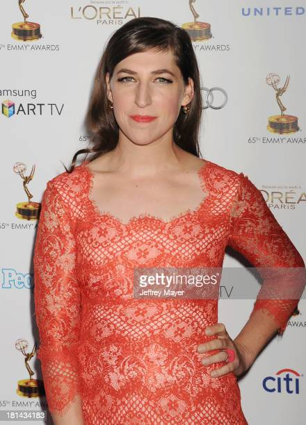 Actress Mayim Bialik arrives at the 65th Emmy Awards Performers Nominee Reception at Spectra by Wolfgang Puck at the Pacific Design Center on...