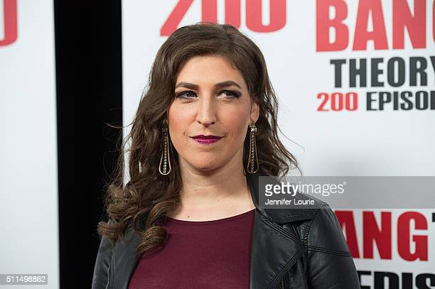 Actress Mayim Bialik arrives at the CBS's The Big Bang Theory Celebrates 200th Episode at the Vibiana on February 20 2016 in Los Angeles California