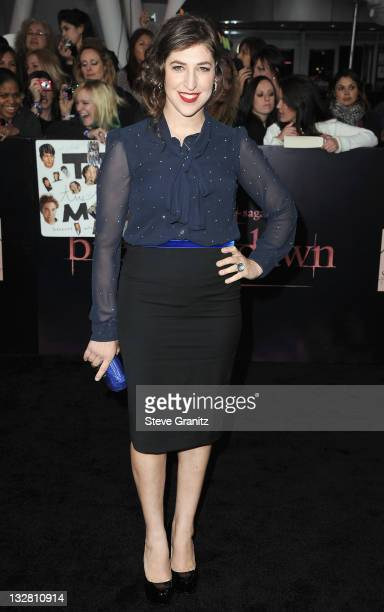 Actress Mayim Bialik arrives at the Los Angeles premiere of The Twilight Saga Breaking Dawn Part 1 held at Nokia Theatre LA Live on November 14 2011...