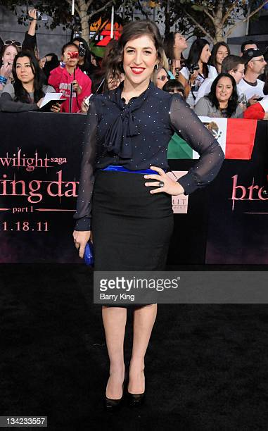 Actress Mayim Bialik arrives at the Los Angeles Premiere The Twilight Saga Breaking Dawn Part 1 at Nokia Theatre LA Live on November 14 2011 in Los...