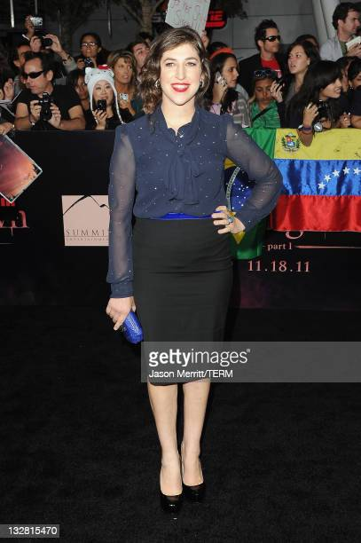Actress Mayim Bialik arrives at the Premiere of Summit Entertainment's The Twilight Saga Breaking Dawn Part 1 at Nokia Theatre LA Live on November 14...