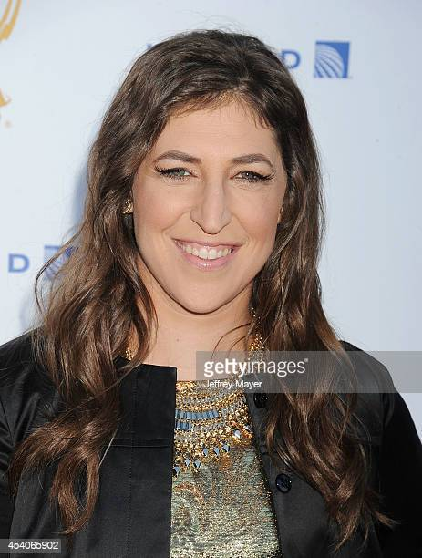 Actress Mayim Bialik arrives at the Television Academy's 66th Emmy Awards Performance Nominee Reception at the Pacific Design Center on Saturday Aug...