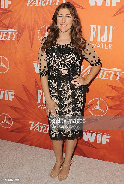 Actress Mayim Bialik arrives at the Variety And Women In Film Annual PreEmmy Celebration at Gracias Madre on September 18 2015 in West Hollywood...