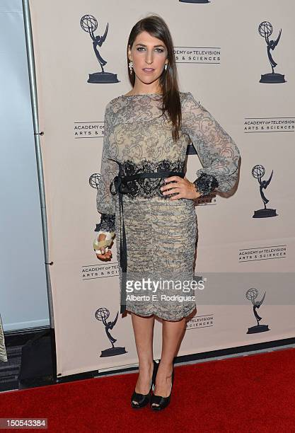Actress Mayim Bialik arrives to the Academy of Television Arts Sciences' Performers Peer Group Cocktail Reception at the Sheraton Hotel on August 20...