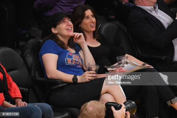 Actress Mayim Bialik attends a basketball game between the Los Angeles Lakers and the Oklahoma City Thunder at Staples Center on February 8 2018 in...