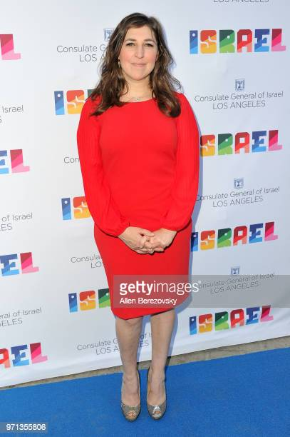 Actress Mayim Bialik attends a private celebration of The 70th Anniversary of Israel hosted by the Consul General of Israel Los Angeles Sam Grundwerg...