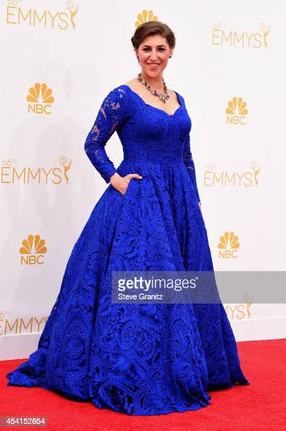 Actress Mayim Bialik attends the 66th Annual Primetime Emmy Awards held at Nokia Theatre LA Live on August 25 2014 in Los Angeles California