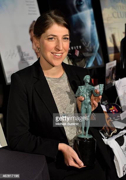 Actress Mayim Bialik attends the SAG Awards Ceremony BTS Day at The Shrine Auditorium on January 15 2014 in Los Angeles California