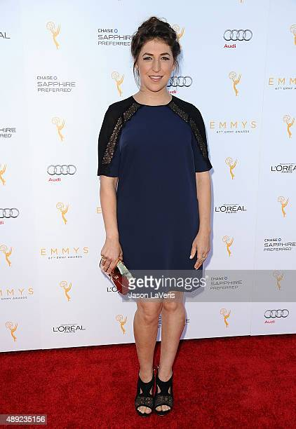 Actress Mayim Bialik attends the Television Academy's celebration for the 67th Emmy Award nominees for outstanding performances at Pacific Design...