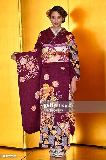 Actress Mayuko Kawakita attends the New Year's Kimono photocall for Oscar Promotion on December 3 2015 in Tokyo Japan