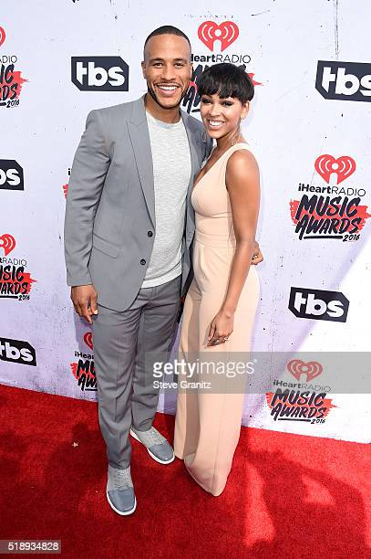 Actress Meagan Good and author DeVon Franklin attend the iHeartRadio Music Awards at The Forum on April 3 2016 in Inglewood California