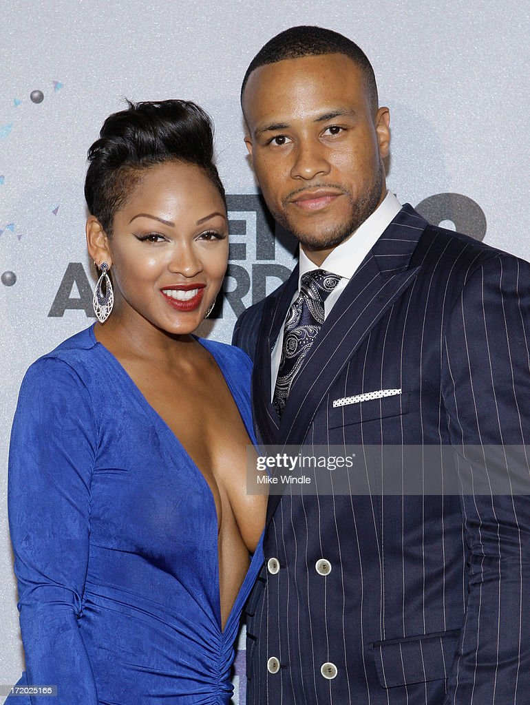 Actress Meagan Good and studio executieve DeVon Franklin poses in the Backstage Winner's Room at Nokia Theatre L.A. Live on June 30, 2013 in Los Angeles, California.
