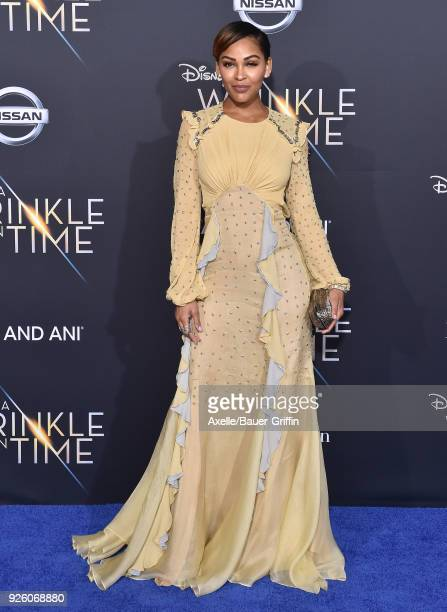 Actress Meagan Good arrives at the premiere of Disney's 'A Wrinkle In Time' at El Capitan Theatre on February 26 2018 in Los Angeles California