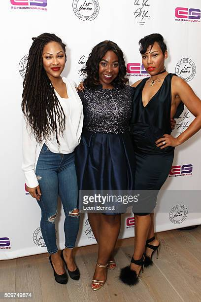 Actress Meagan Good Founder of 1st Femme Cindy Nkem and La'Myia Good attended the La'Myia Good Hosts 1st Femme Fragrance Launch on February 11 2016...