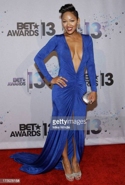 Actress Meagan Good poses in the Backstage Winner's Room at Nokia Theatre LA Live on June 30 2013 in Los Angeles California