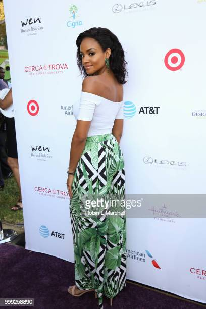 Actress Meagan Tandy attends The HollyRod Foundation's 20th Annual DesignCare Gala at Private Residence on July 14 2018 in Malibu California