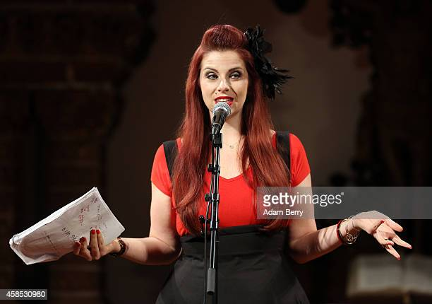 Actress Meg Bashwiner performs during a live version of 'The Librarian' episode of the podcast 'Welcome To Night Vale' at the Passionskirche on...