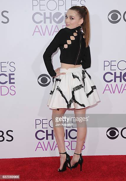 Actress Meg Donnelly arrives at the People's Choice Awards 2017 at Microsoft Theater on January 18 2017 in Los Angeles California