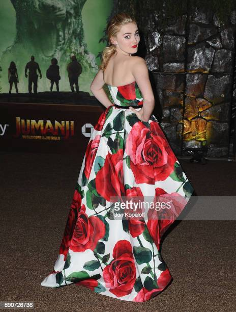 Actress Meg Donnelly attends the Los Angeles Premiere Jumanji Welcome To The Jungle at the TCL Chinese Theatre on December 11 2017 in Hollywood...