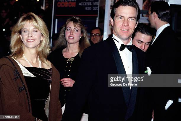Actress Meg Ryan and her husband actor Dennis Quaid attend the premiere of 'When Harry Met Sally' on December 2, 1989 in London, England.